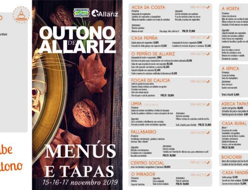 Restaurantes e taparías de Allariz ofrecerán, esta fin de semana, menús e tapas especiais de outono.