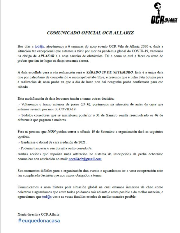 Comunicado da xunta directiva da OCR Vila de Allariz